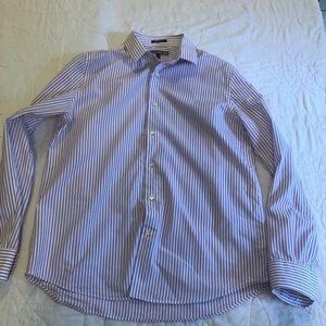 EXPRESS Large  16 161/2  Men Purple White Stripe